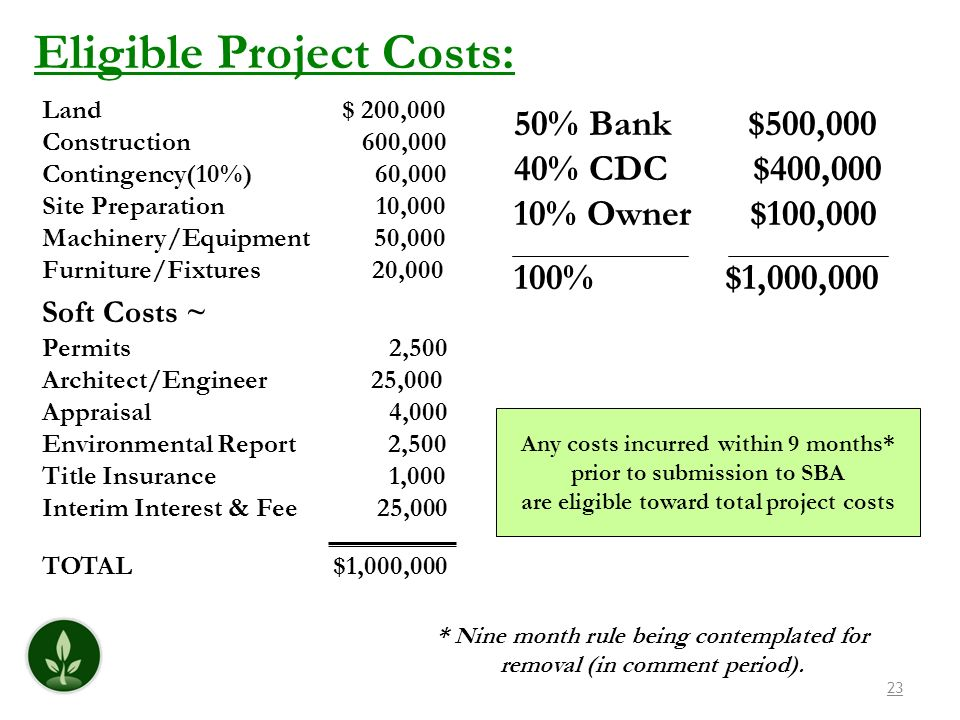 Eligible Project Costs: