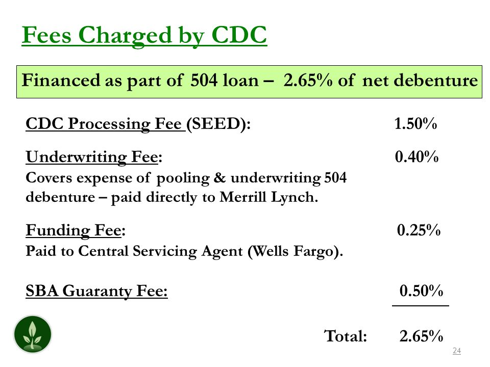 Fees Charged by CDCFinanced as part of 504 loan – 2.65% of net debenture. CDC Processing Fee (SEED): 1.50%