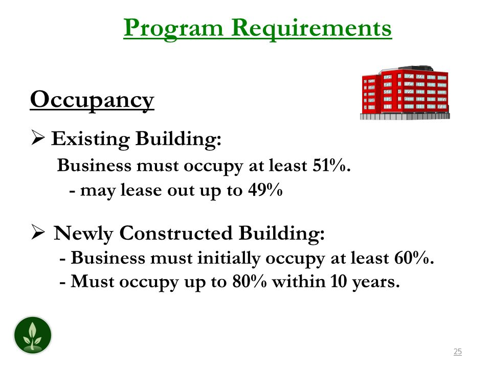 Program Requirements Occupancy Existing Building: