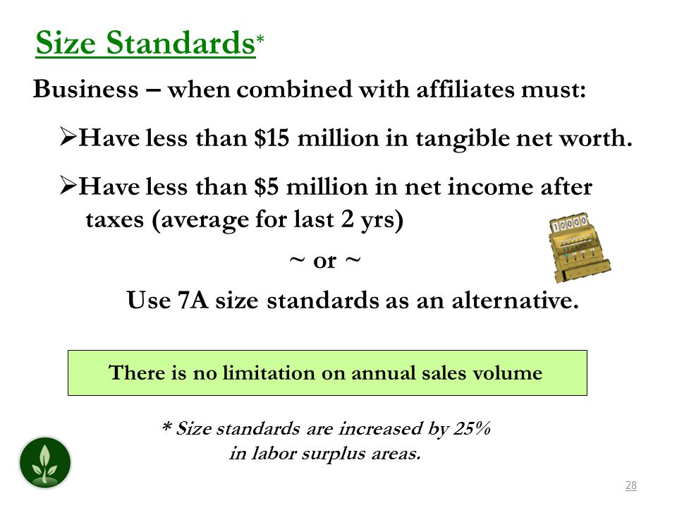 * Size standards are increased by 25% in labor surplus areas.