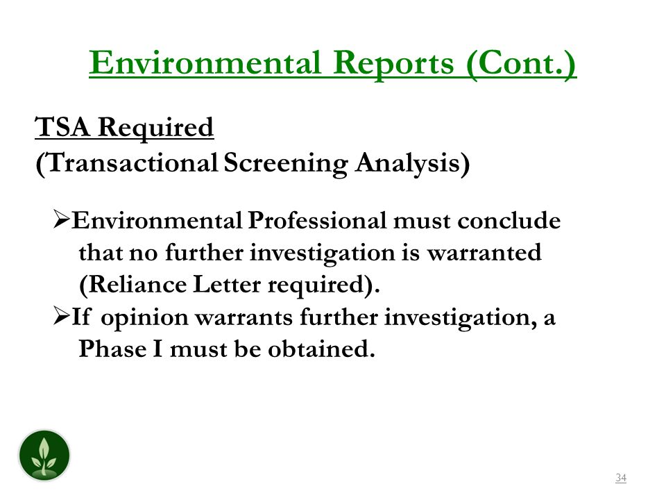 Environmental Reports (Cont.)