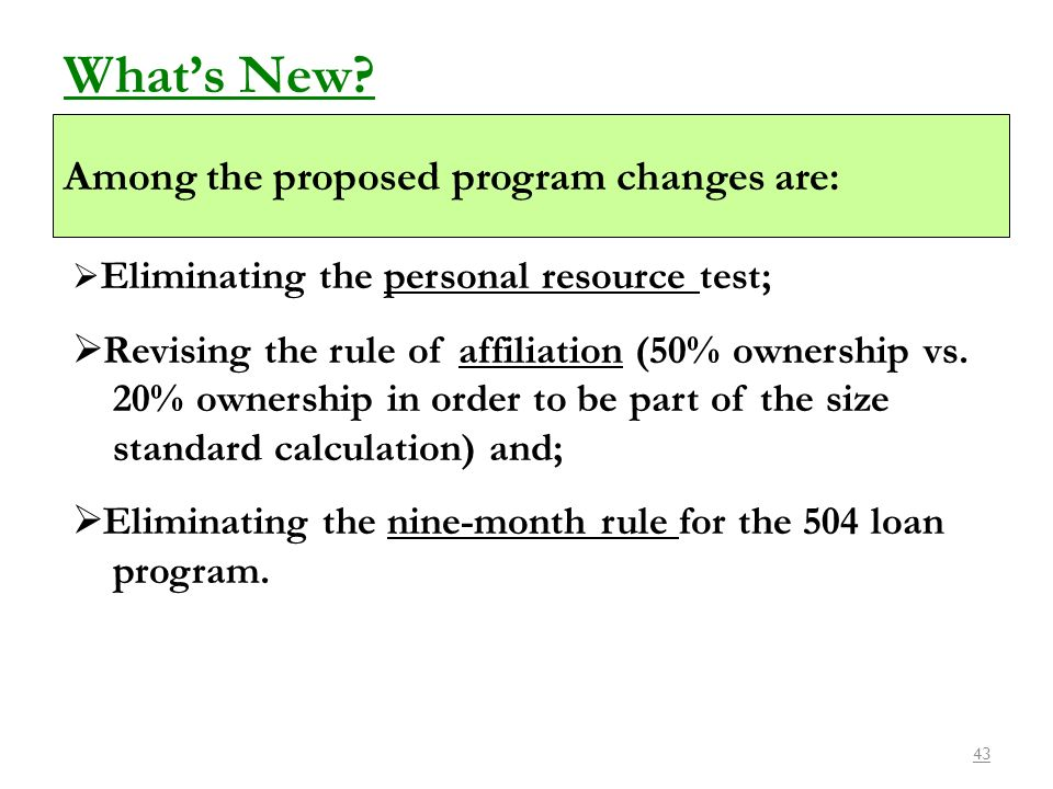 What's New Among the proposed program changes are:
