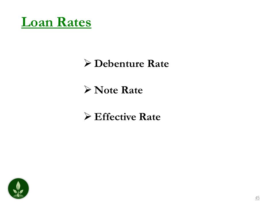 Loan Rates Debenture Rate Note Rate Effective Rate