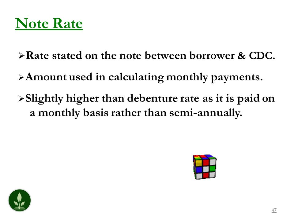 Note Rate Amount used in calculating monthly payments.