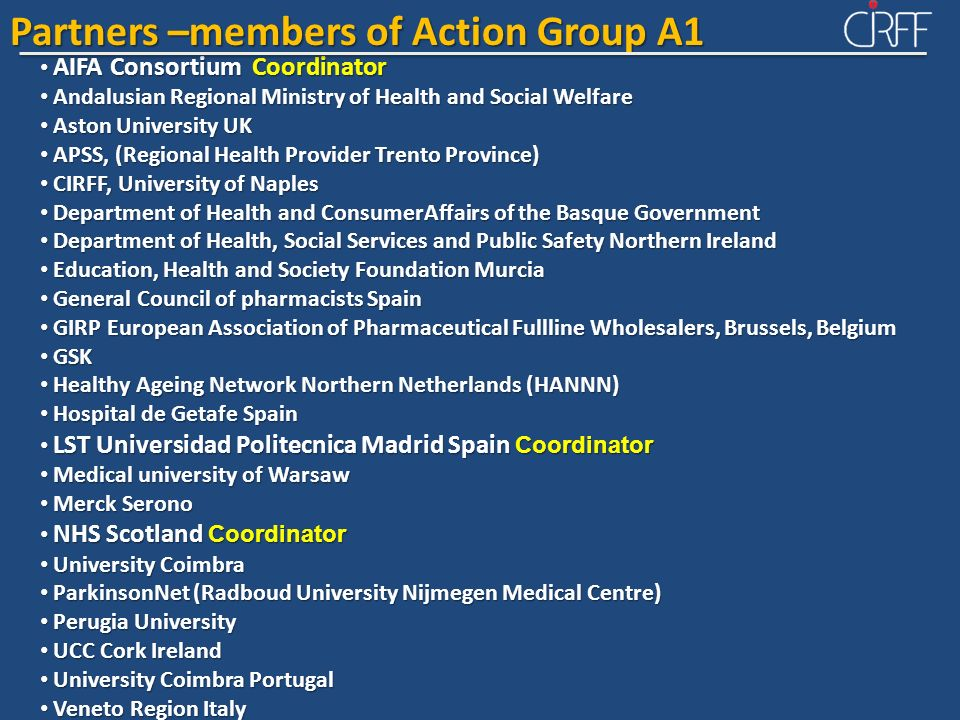 Partners –members of Action Group A1