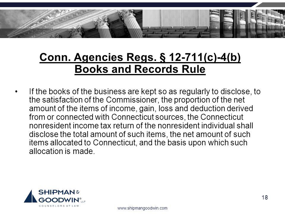 Conn. Agencies Regs. § 12-711(c)-4(b)