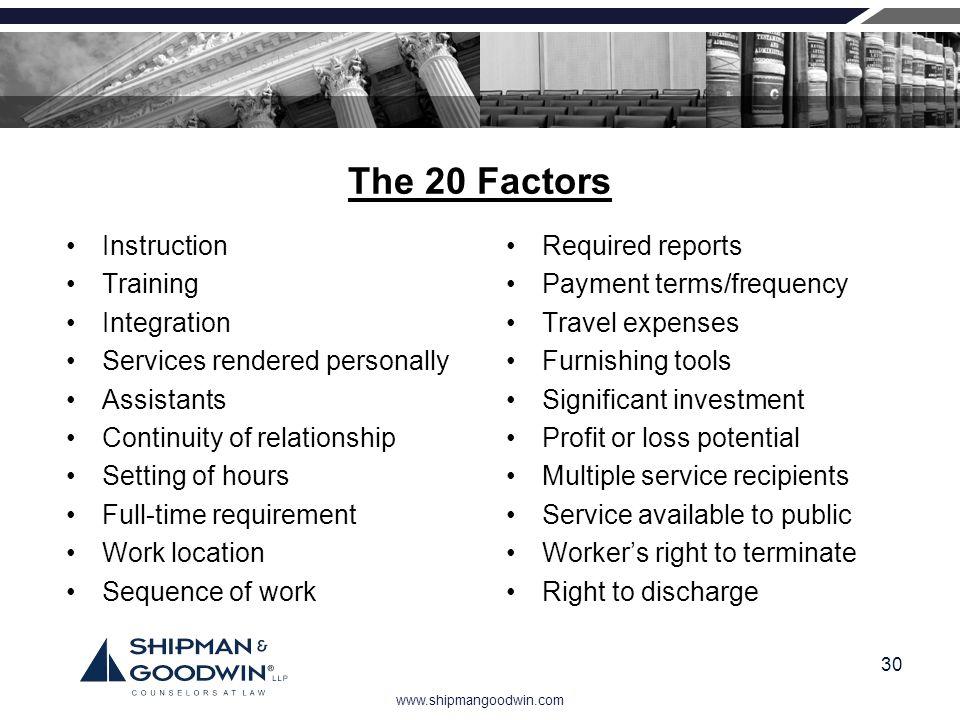The 20 Factors Instruction Training Integration