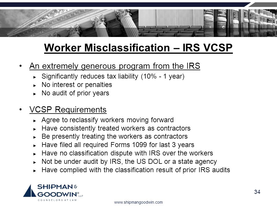 Worker Misclassification – IRS VCSP