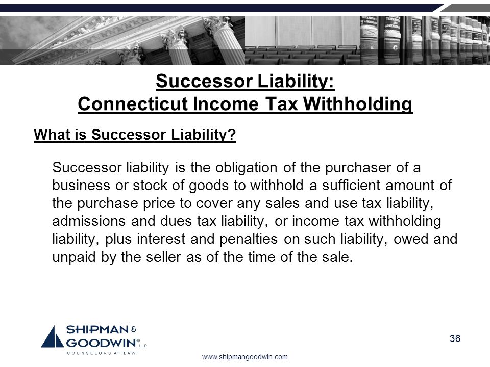 Successor Liability: Connecticut Income Tax Withholding