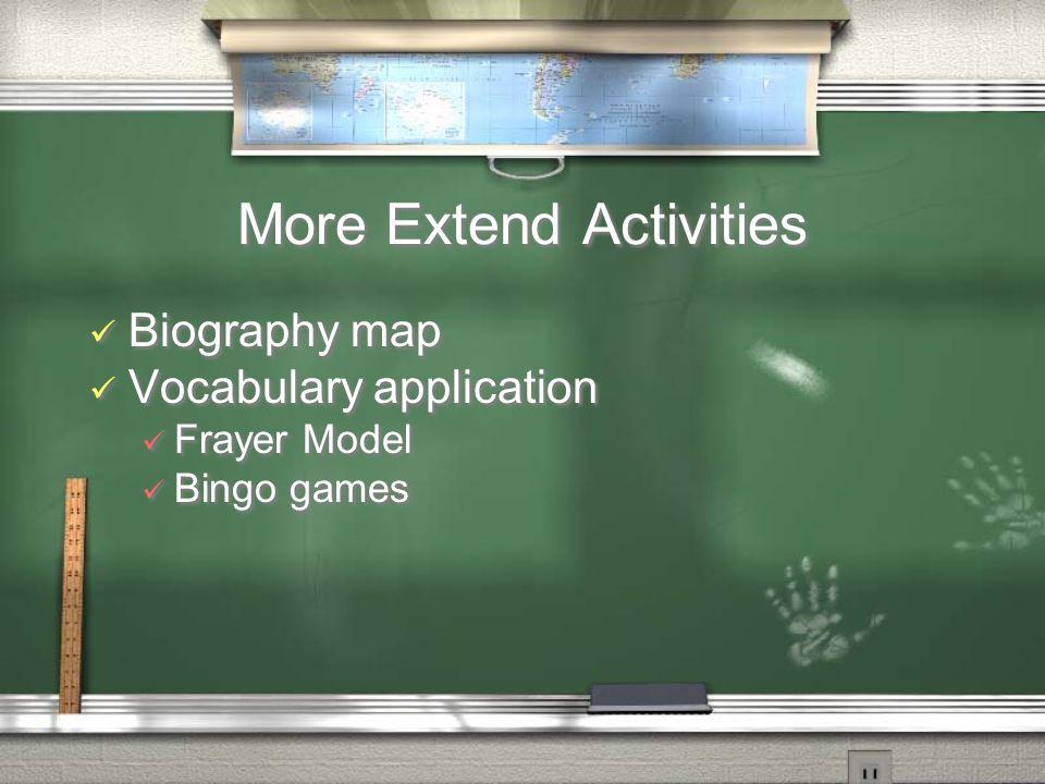 More Extend Activities