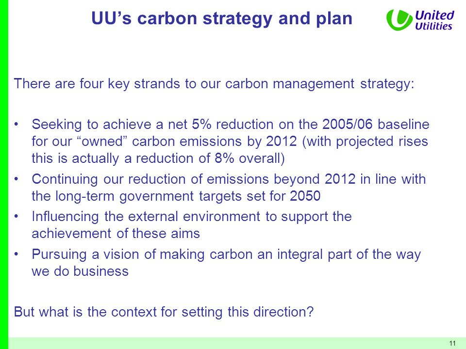 UU's carbon strategy and plan