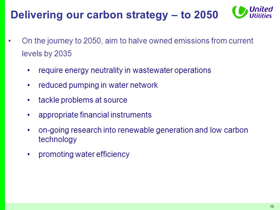 Delivering our carbon strategy – to 2050