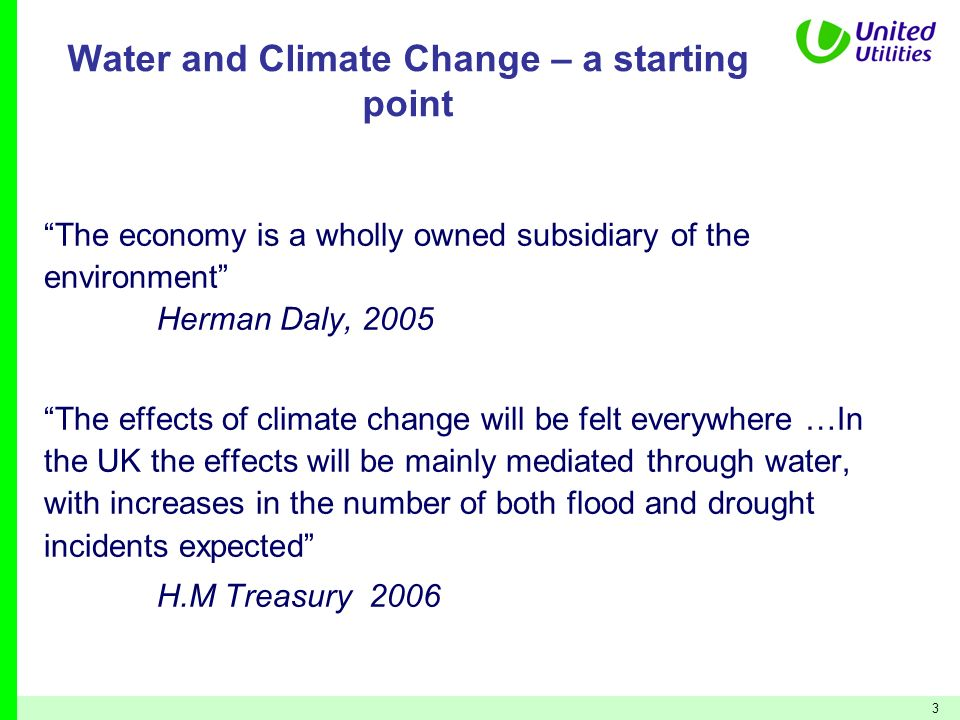 Water and Climate Change – a starting point