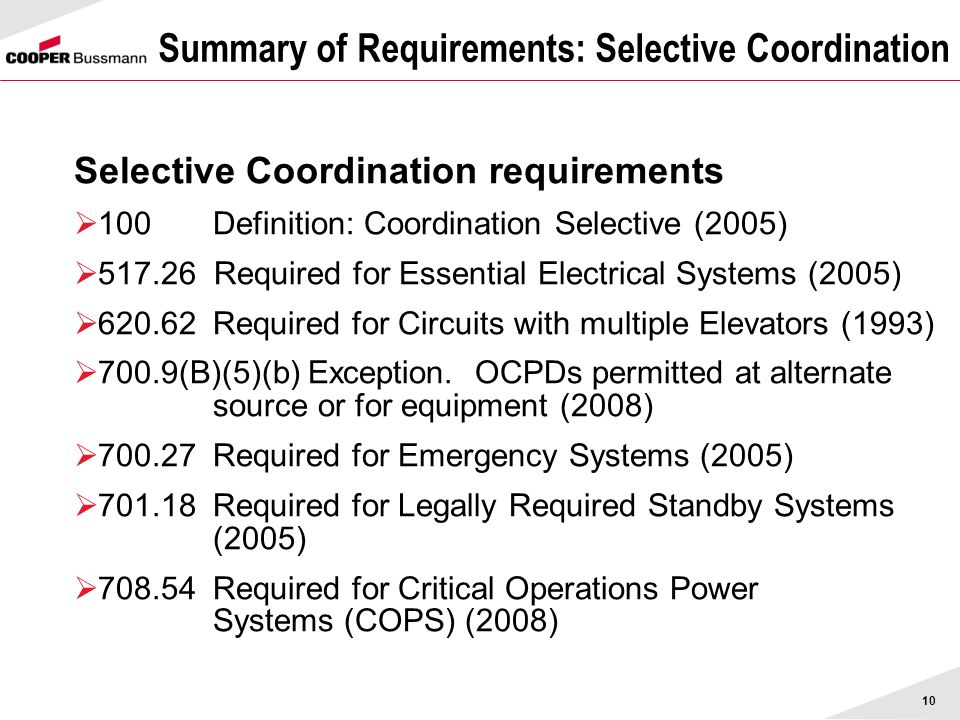 Summary of Requirements: Selective Coordination