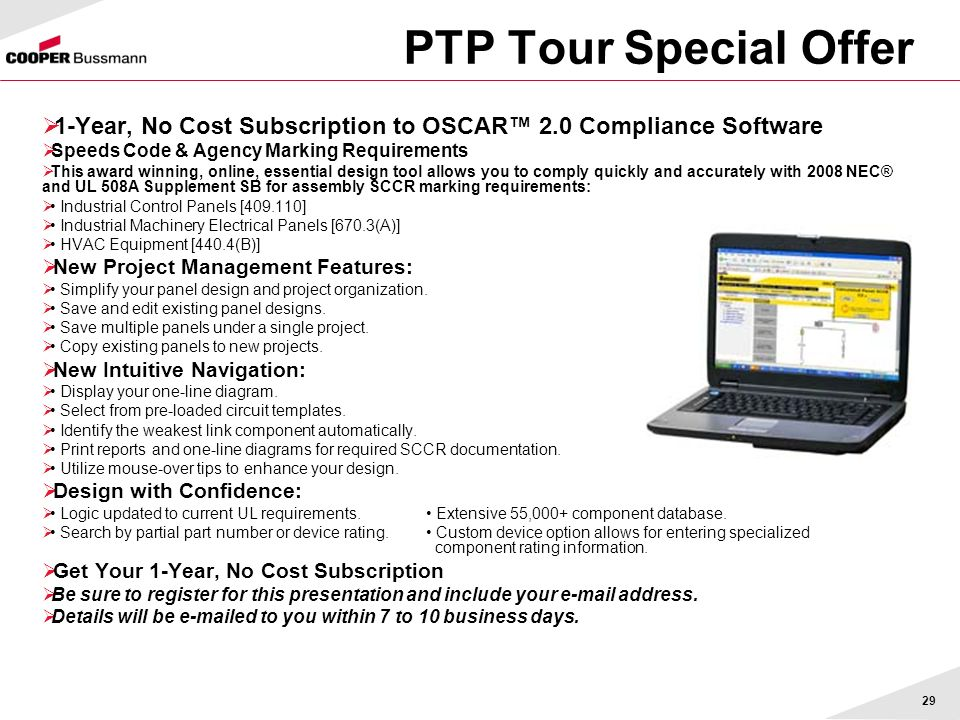 PTP Tour Special Offer 1-Year, No Cost Subscription to OSCAR™ 2.0 Compliance Software. Speeds Code & Agency Marking Requirements.