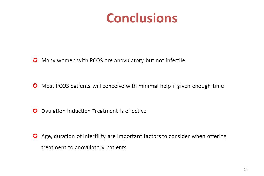Conclusions Many women with PCOS are anovulatory but not infertile