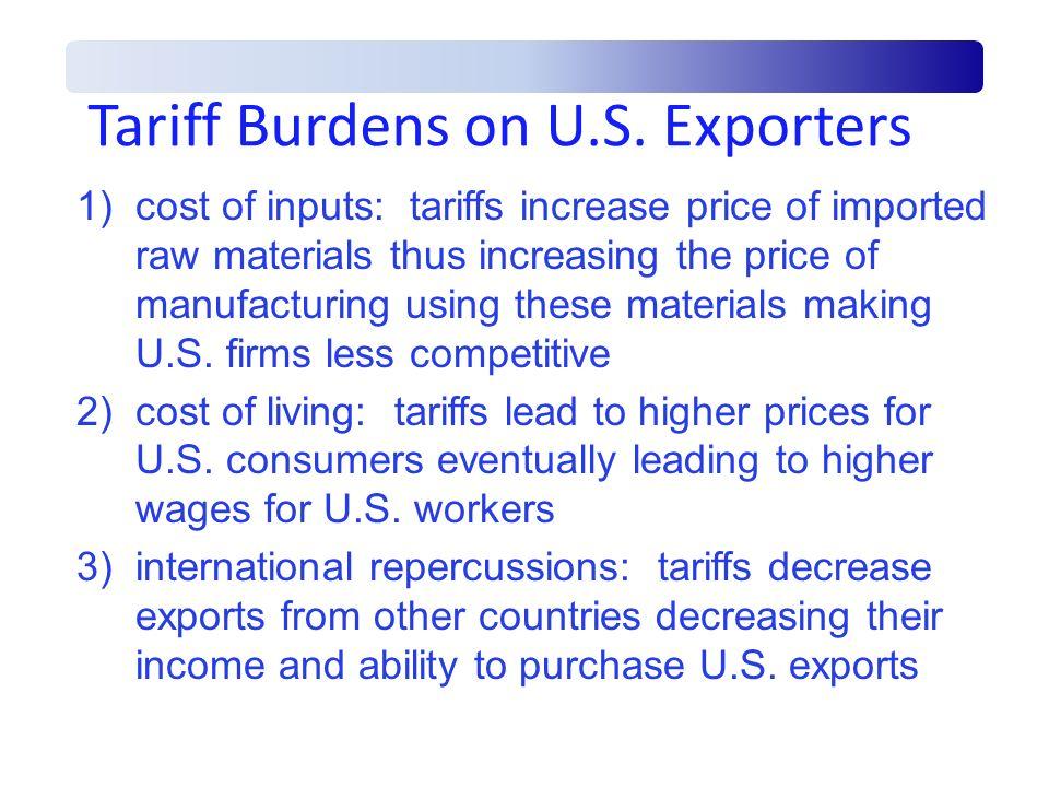 Tariff Burdens on U.S. Exporters