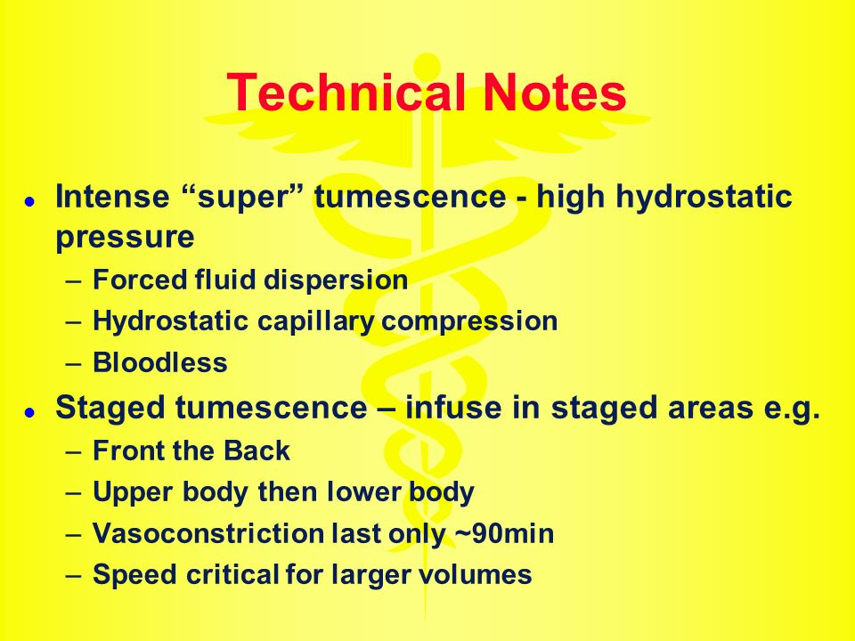 Technical Notes Intense super tumescence - high hydrostatic pressure