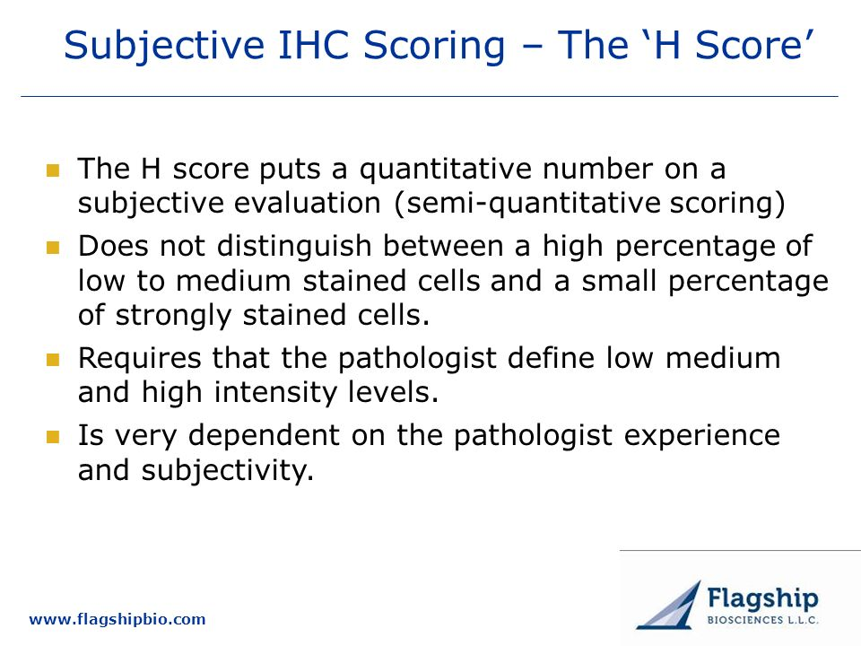 Subjective IHC Scoring – The 'H Score'