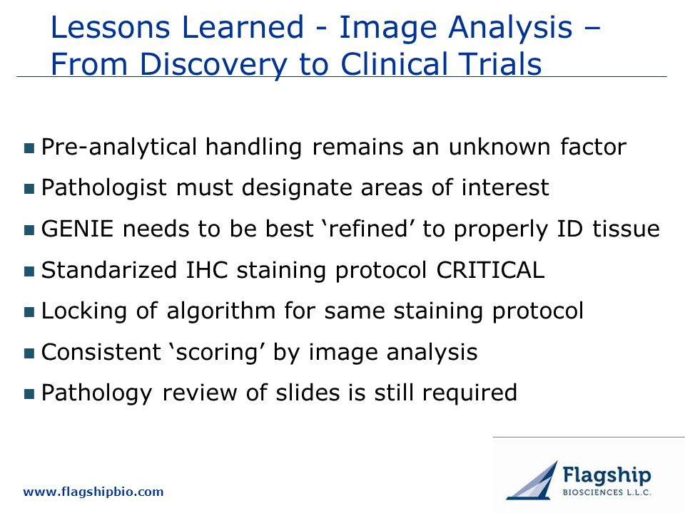 Lessons Learned - Image Analysis – From Discovery to Clinical Trials