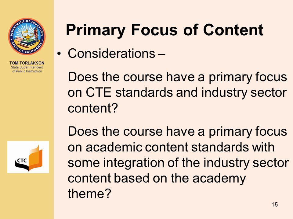 Primary Focus of Content