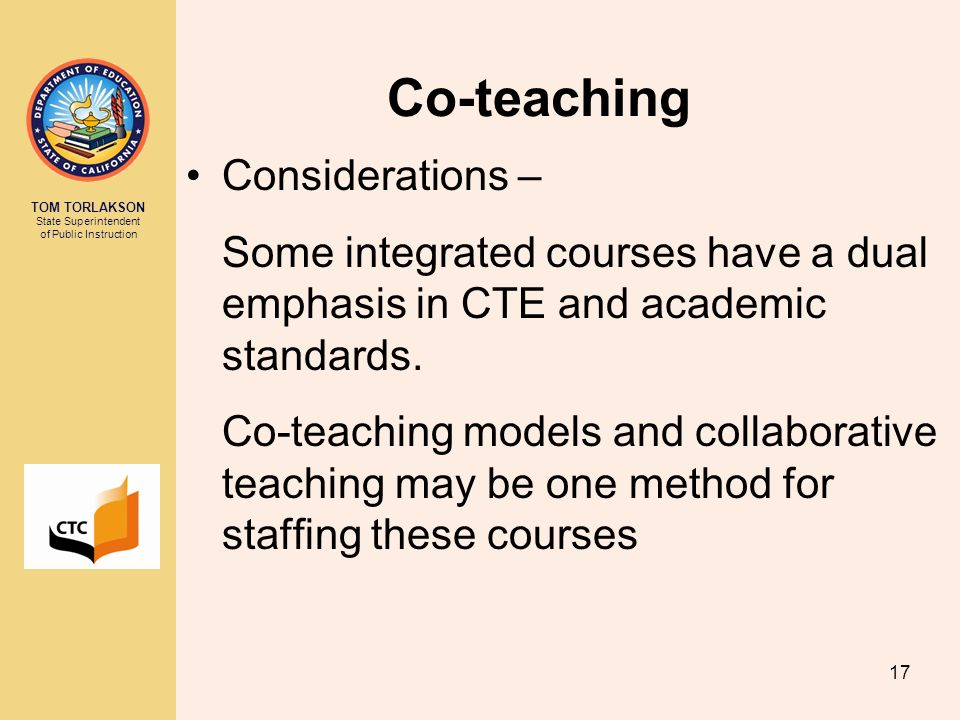 Co-teaching Considerations –