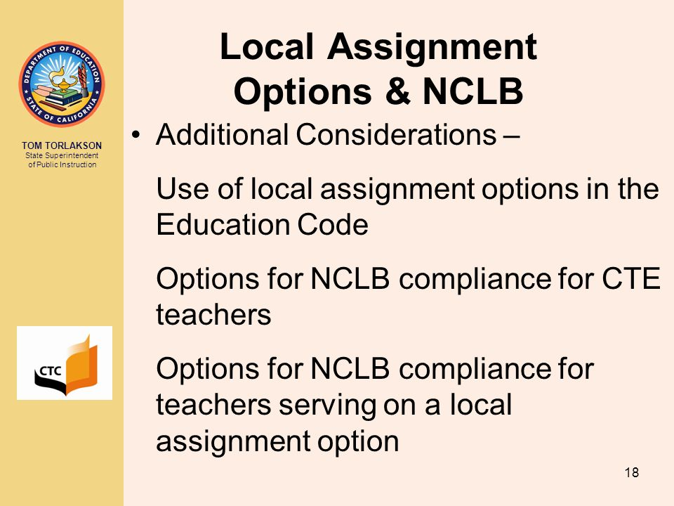 Local Assignment Options & NCLB