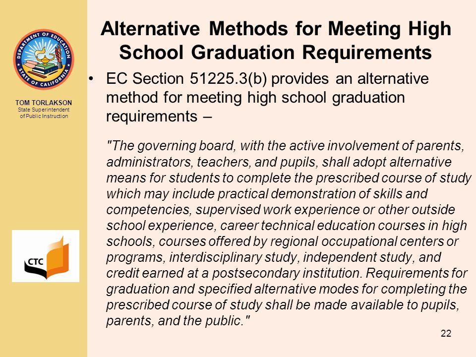 Alternative Methods for Meeting High School Graduation Requirements