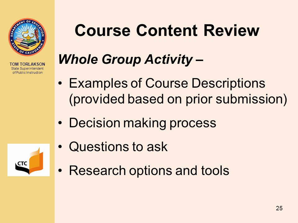 Course Content Review Whole Group Activity –