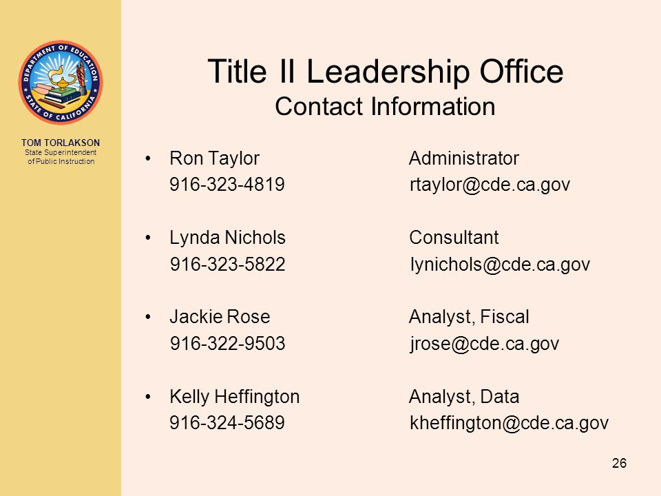 Title II Leadership Office Contact Information Ron Taylor Administrator. 916-323-4819 rtaylor@cde.ca.gov.