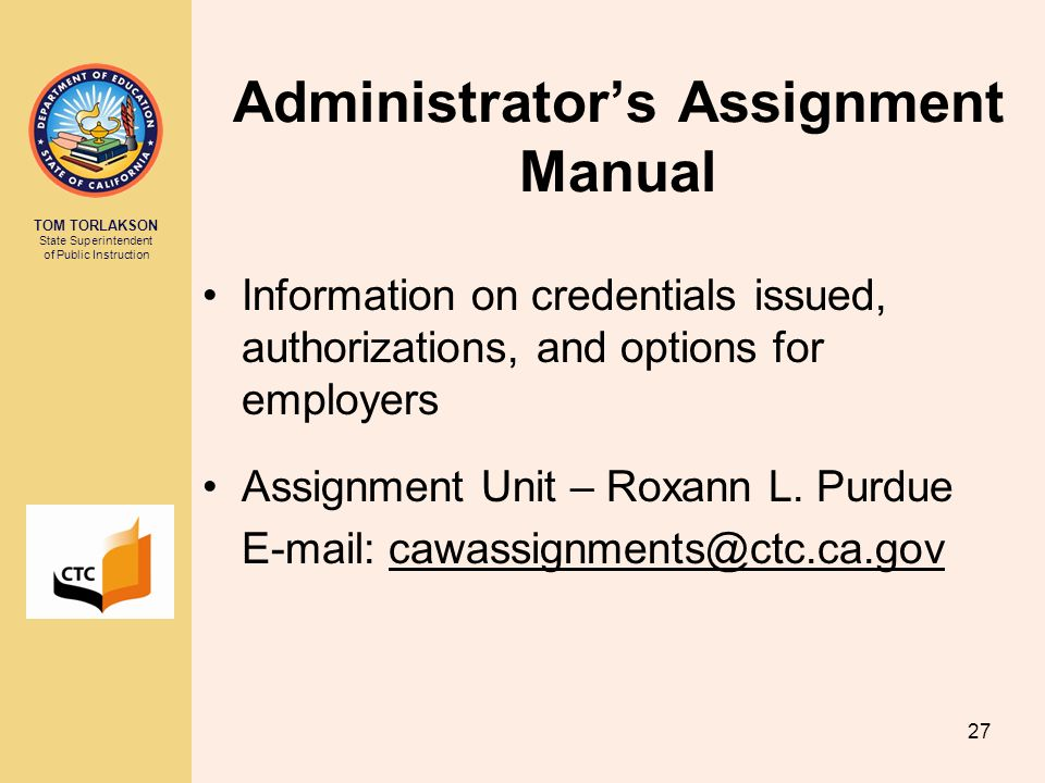 Administrator's Assignment Manual
