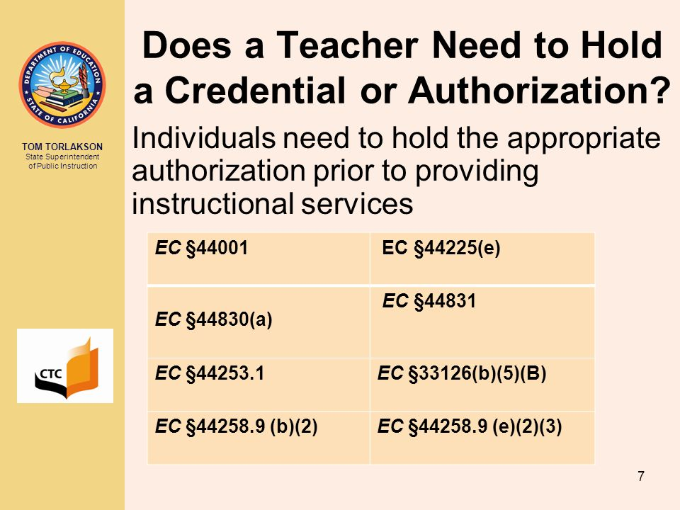 Does a Teacher Need to Hold a Credential or Authorization