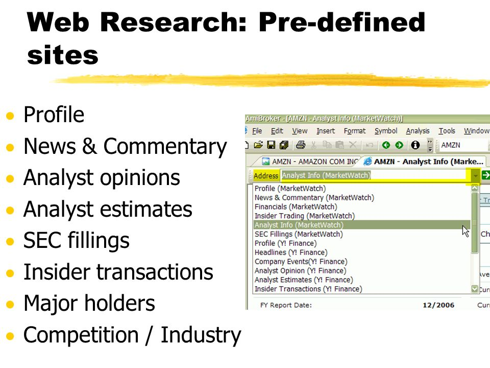 Web Research: Pre-defined sites