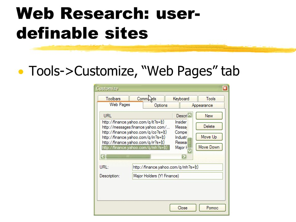 Web Research: user-definable sites