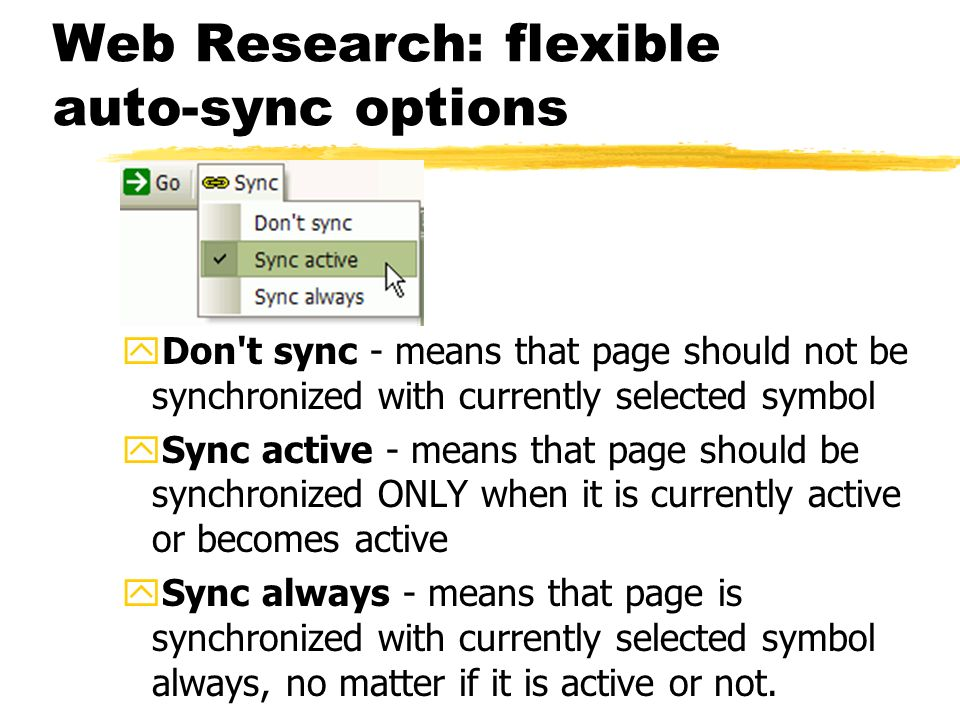 Web Research: flexible auto-sync options