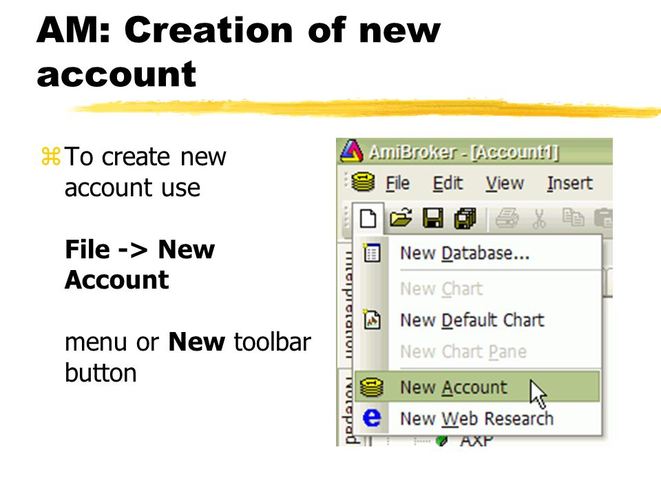 AM: Creation of new account