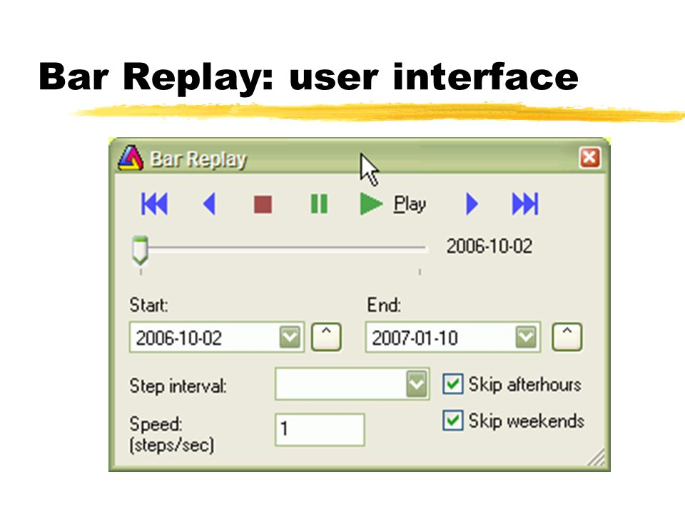Bar Replay: user interface
