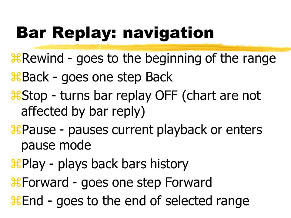 Bar Replay: navigation