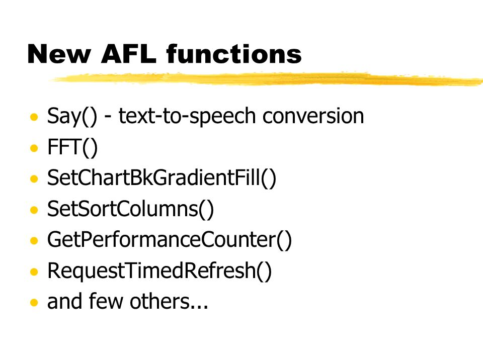 New AFL functions Say() - text-to-speech conversion FFT()