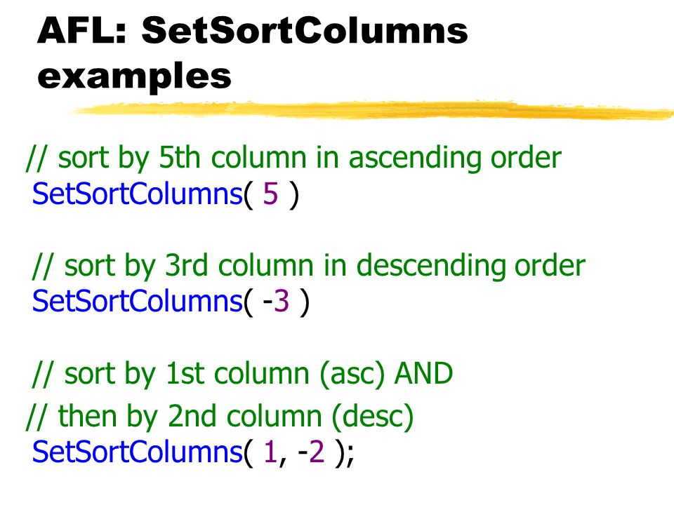 AFL: SetSortColumns examples