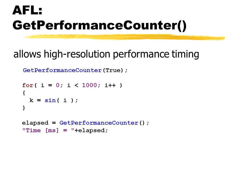 AFL: GetPerformanceCounter()