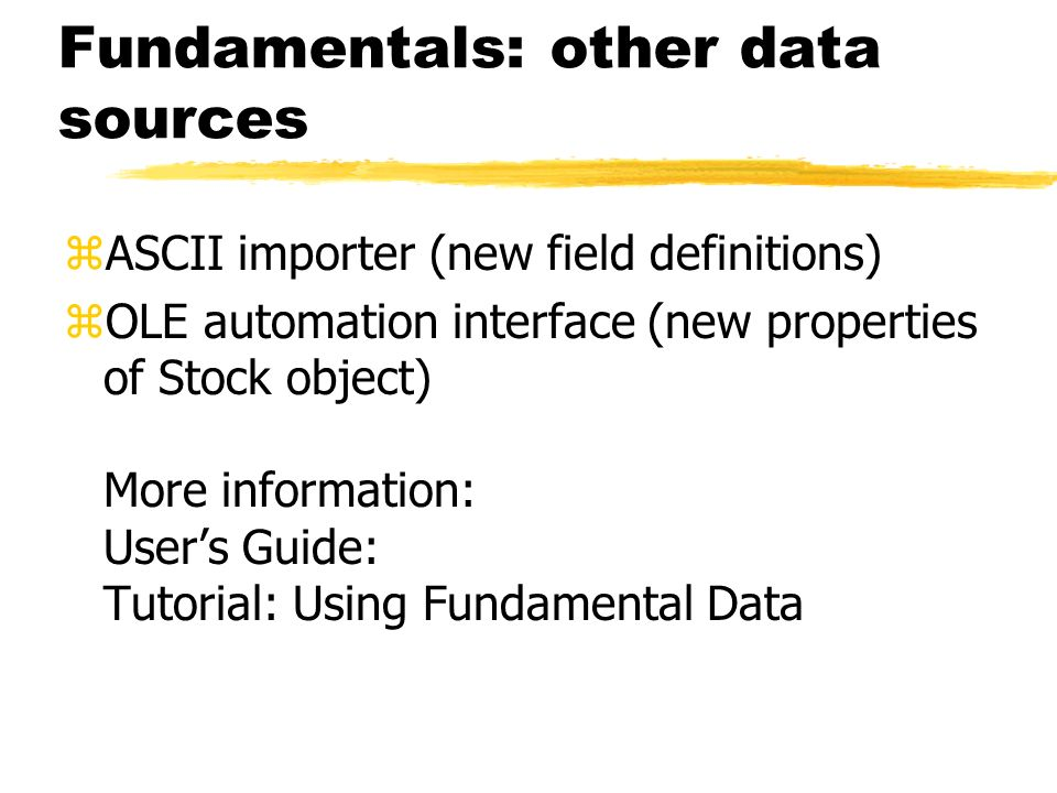 Fundamentals: other data sources
