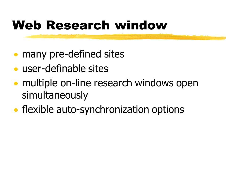 Web Research window many pre-defined sites user-definable sites