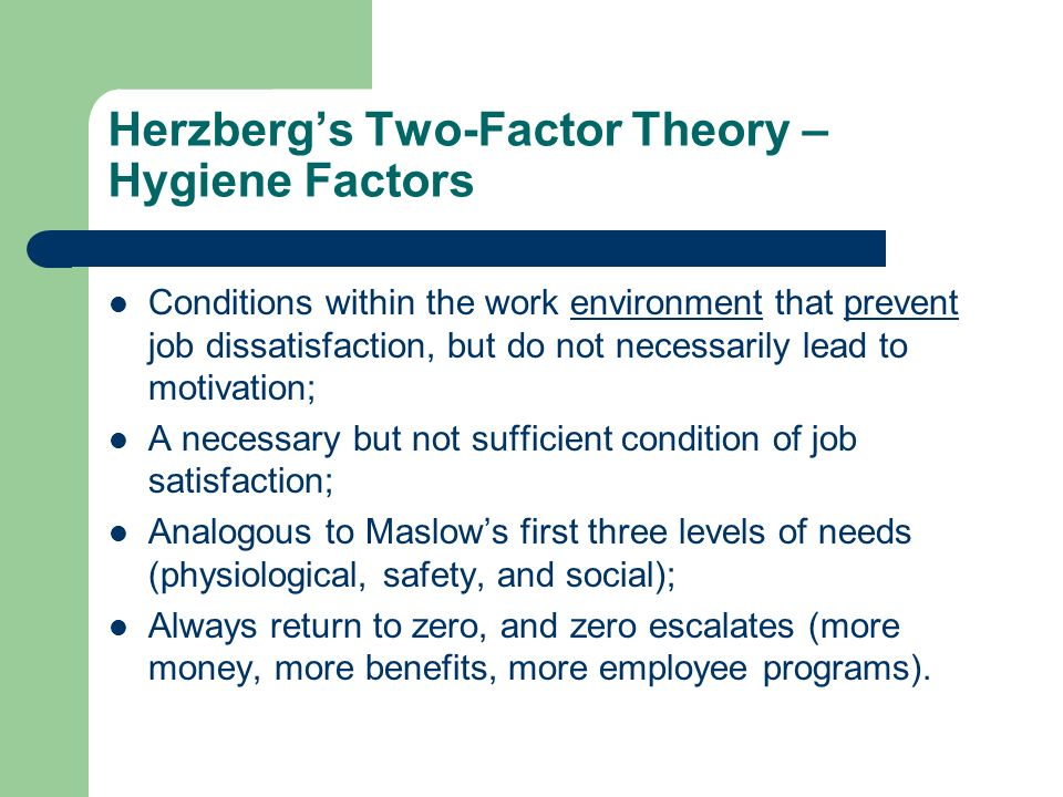 Herzberg's Two-Factor Theory – Hygiene Factors