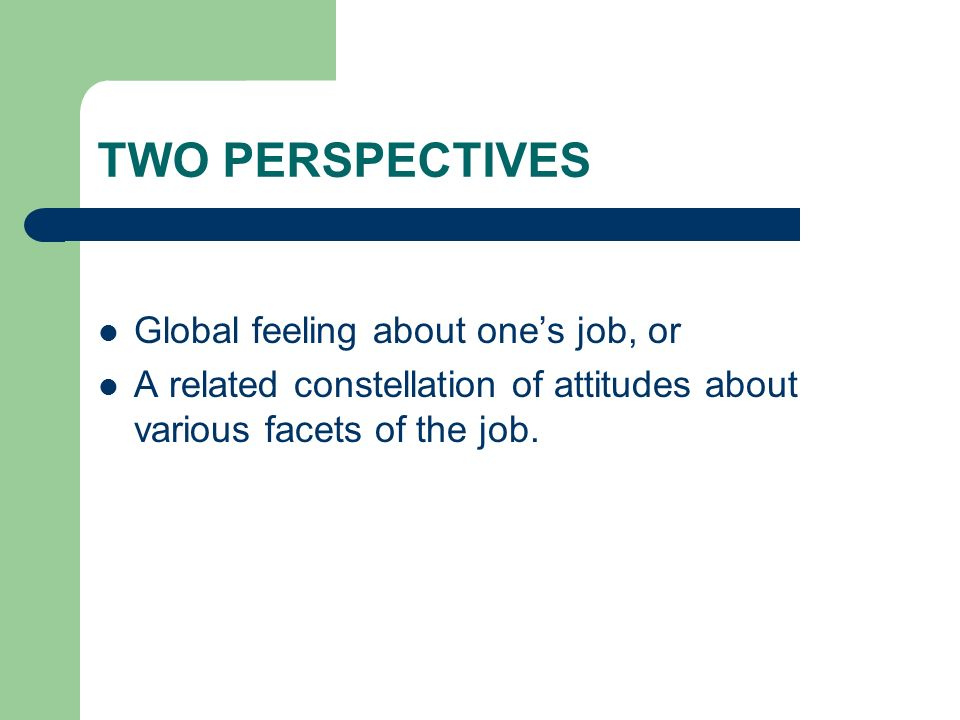 TWO PERSPECTIVES Global feeling about one's job, or