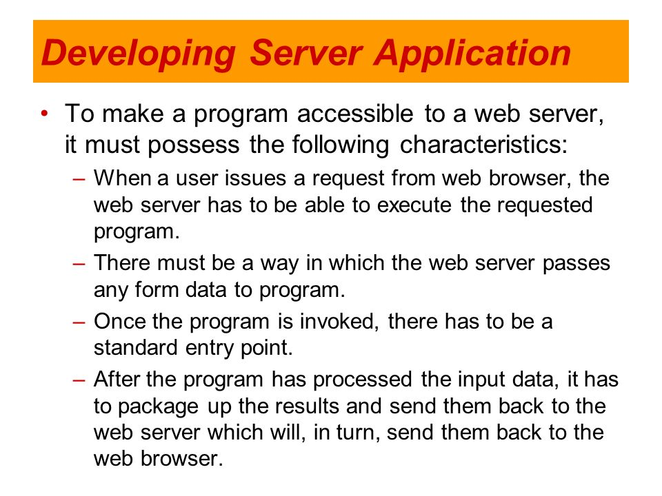 Developing Server Application