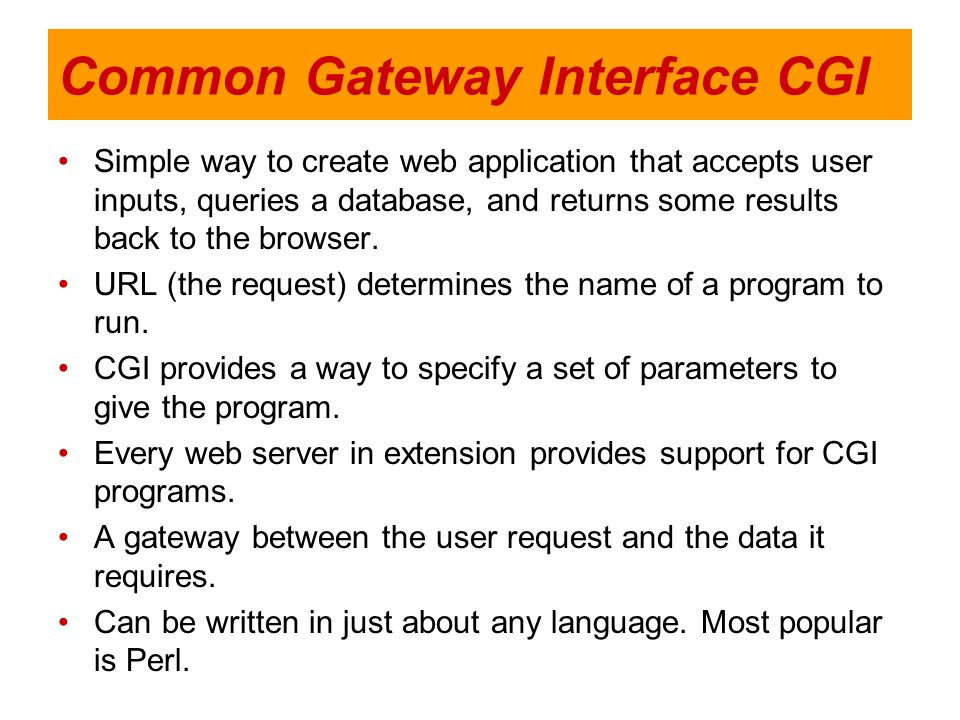 Common Gateway Interface CGI