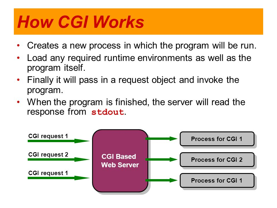 How CGI Works Creates a new process in which the program will be run.