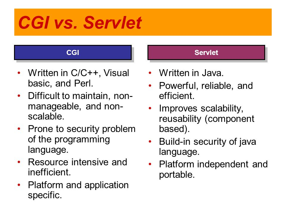 CGI vs. Servlet Written in C/C++, Visual basic, and Perl.