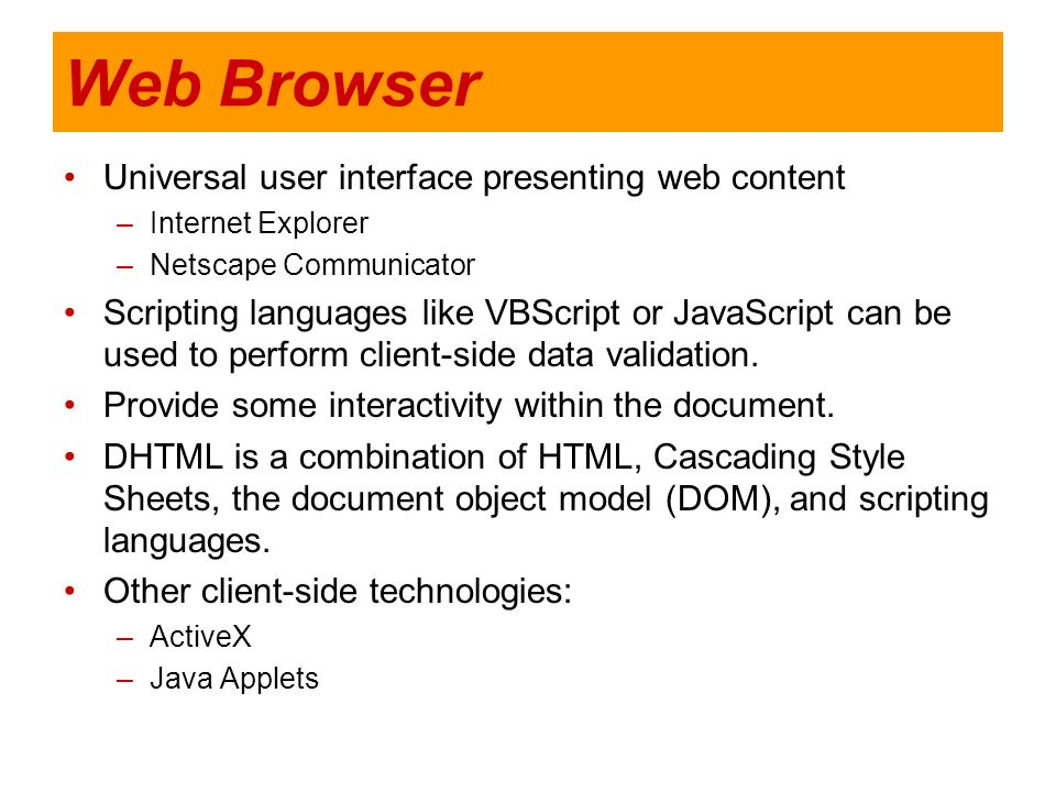 Web Browser Universal user interface presenting web content